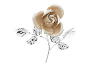 Rosa 14 cm bocciolo ecrù