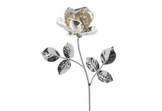 Rosa 14 cm bocciolo argento