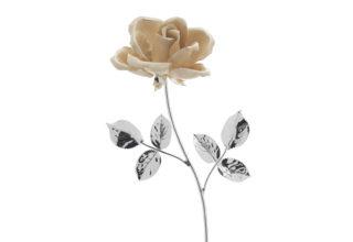Rosa 17 cm bocciolo ecrù