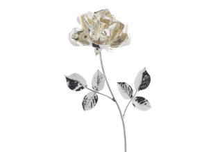 Rosa 17 cm bocciolo argento