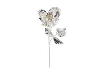 Rosa 20 cm bocciolo argento